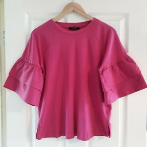 Autograph M&S Bright Fuschia Pink Top Size 14 Flared Sleeves Cotton Smart Casual