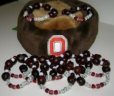 "Ohio State ""GO-BUCKS ""Buckeye Bracelet""-Large W/Football, Ruby Red & Gray Beads!"