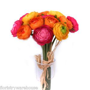 Ranúnculo Lote 14 Mini Naranja, Amarillo y Rosa Flores 27cm/26.7cm