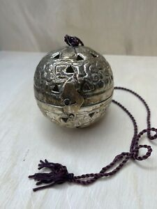 """Vtg Ornament Hinged Hanging Silver Plated Ball Incense Potpourri Holder 3"""""""