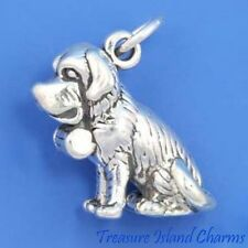 SAINT ST BERNARD DOG BRANDY BARREL KEG 3D .925 Solid Sterling Silver Charm 4.6gr