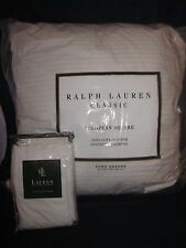 """RALPH LAUREN Bromley White 26"""" x 26"""" European Square Pillow & Sham NEW with TAG"""