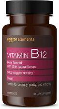 Amazon Elements Vitamina B12 Metilcobalamina 5000 mcg - Producción Normal de Ene