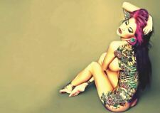 PHOTOGRAPH PORTRAIT FEMALE MODEL SEXY TATTOO TATTOOED ART PRINT POSTER GZ5750