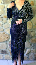 VINTAGE BOB MACKIE Fully Beaded Black and Silver Evening/Formal Gown