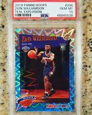 2019-20 NBA Hoops Zion Williamson 296 Teal Explosion Rookie RC PSA 10 GEM MINT!!