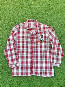 Mickey Mouse Shirt Pajamas PJ Long Sleeve Button Up Shirt Men's Size Small