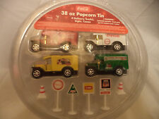 Popcorn Tin Toys Coca Cola Delivery Trucks, Signs, And Cones