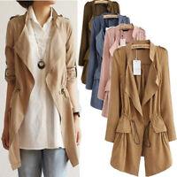 Women Fashion Belted Long Sleeve Waterfall Duster Coat Cape Cardigan Jacket Tops