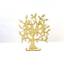 Jubiläumsbaum zum Geburtstag aus Holz, 28cm,Geschenk, Lebensbaum,mit der Zahl 80