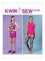 Kwik Sew Sewing Pattern 4163 Misses Racerback Tops Shorts Leggings XS-XL Uncut