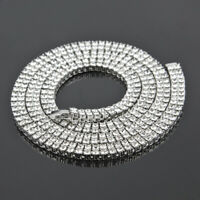 14k White Gold AAA Cubic Zirconia Silver Chain Hip Hop Tennis Necklace
