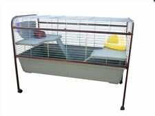 Rabbit Hutch Guinea Pigs Pets Ferrets Cage Stand Wired Twin-Level Plastic Hay