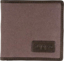 ORIG. ZIPPO GREY FABRIC / MOCCA LEATHER WALLET COIN CARD HOLDER MEN'S ** NEW **