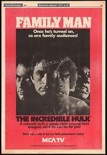 THE INCREDIBLE HULK - Family Man__Original 1980 Trade AD / poster__LOU FERRIGNO