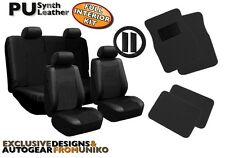 Faux Leather Solid Black Seat Covers Floor Mats Steering Wheel 4 Head Rests CS4