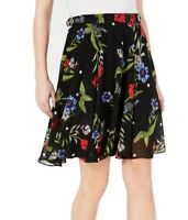 Guess Women's Skirt Black Size 26 Floral Print Buckle Grace A-Line $69 #885