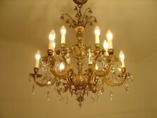 BRASS CRYSTAL CHANDELIER 12 L OLD LIGHTINGS HOME DECOR LAMP FIXTURES LUSTRE