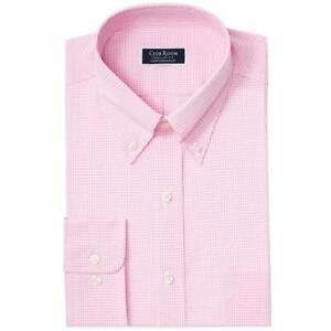 Club Room Mens Dress Shirt Pink Size 16 1/2 Check Regular Performance $55 #133