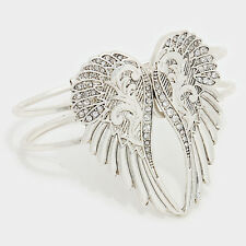 Angel Wings Bracelet Hinge Bangle Pave Rhinestone BURN SILVER Faith Love Jewelry