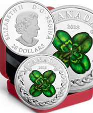 2018 Lucky Four Leaf Clover $20 1OZ Pure Silver Proof Coin Canada Shamrock-Green