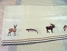 "NEW LODGE WILDERNESS Embroidered VALANCE CURTAIN 58"" X 12"" MOOSE FISH  BEAR DEER"