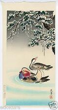 TSUCHIYA KOITSU JAPANESE Hand Printed Woodblock Print - Mandrain Ducks