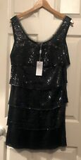 Philosophy Di Alberta Ferretti New Sequin Tiered Sparkle Dress Black IT 42 UK 10