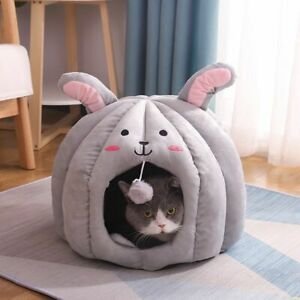 Bunny Cat Bed Kennel Tent Deep Sleep Soothing Bag House Basket Soft Winter Warm