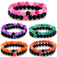 2 Distance Bracelets for Lovers Couples Matching Gift Matte Agate 8mm Bead Stone