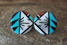 Zuni Sterling Silver Turquoise Multistone Inlay Post Earrings!