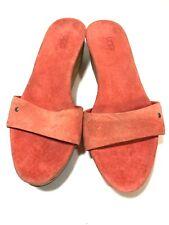 Uggs size 5 Sandals PInk Suede Cork Glitter Wedge Open Toe Platform Slides