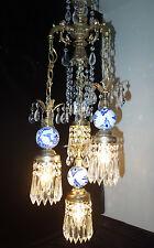 Vintage 5Lite Vintage Hollywood Regency DELFT BLUE tole Brass swag crystal lamp