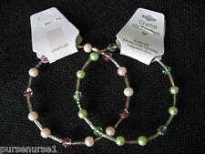 "Swarovski Crystal  and Faux Peal Bangle Bracelet 8""  Pink or Green"