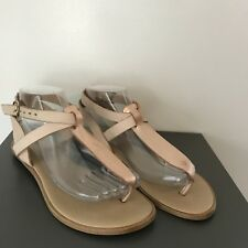 Gently Used Size 38 Mercanti Fiorentini Flat Leather Strappy Thong Sandals
