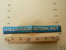 STICKER,DECAL MINOLTA POCKET AUTOPAK 460T LARGE IS FOLDED