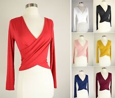 Wrap Front Crop Top Soft Knit Solids Stretch Long Sleeve V-Neck Fitted T-Shirt