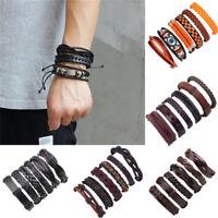 6Pcs Men's Fashion Punk Leather Wrap Braided Wristband Cuff Punk Bracelet Bangle