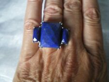 Lapis Lazuli Trilogy ring, 24 carats, size L/M, 4.43 grams of 925 Sterling Silve