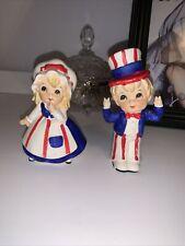 Vintage Uncle Sam * Betsy Ross Patriotic Boy & Girl Figurine Set Lefton - Japan