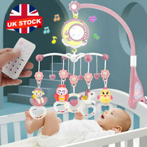 Baby Musical Crib Bed Bell Cot Mobile Stars Dreams Light Nusery Lullaby Toy