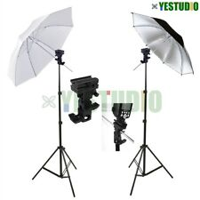 Photo Studio Video Speedlite Flash Umbrella Lighting Light Stand+2 Bracket B Kit
