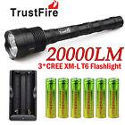 TrustFire 20000LM 3x CREE LED XM-L T6 Tactical Flashlight Torch Super Bright USA