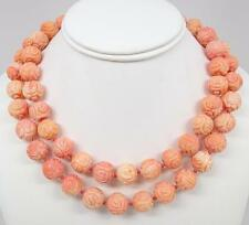 "Antique Chinese 14K Carved Pink Coral Shou 14mm Bead 37"" Necklace 207.4g"