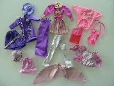 14/ LOT VETEMENTS POUPEE BARBIE DOLL MATTEL VINTAGE ROSE MAUVE - 2EME CHOIX