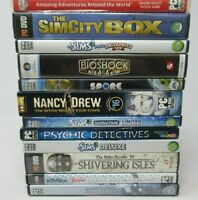12 GAME LOT FOR PC WINDOWS / MAC - GAME DISC, CASE, BOOKLET, SIMS 3, NANCY, BIO
