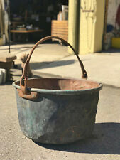 X LARGE Vintage Solid Copper Kettle Wrought Iron Bail Handle, Copper Patina, 28""
