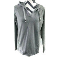 Athleta Womens Small Heather Gray V Neck Idyllwild Pullover Hoodie