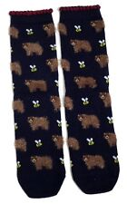 LADIES A SLEUTH OF FLUFFY BROWN BEARS AND BEES SOCKS UK 4-8 EUR 37-42 USA 6-10