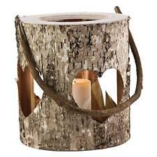 WOODEN TREE BARK RUSTIC CUT OUT HEART LANTERN HURRICANE TEA LIGHT CANDLE  HOLDER